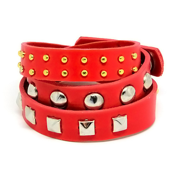 Red Leather Wrap Around Adjustable Studded Bracelet