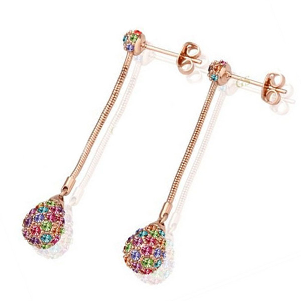 18K Rose Gold Plated Earring Dangling Pear with Multicolored Crystal Accents
