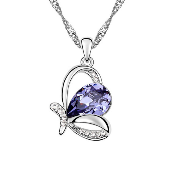 Royal Amethyst and Clear Crystal Crown Pendant Necklace, 18k White Gold Plated