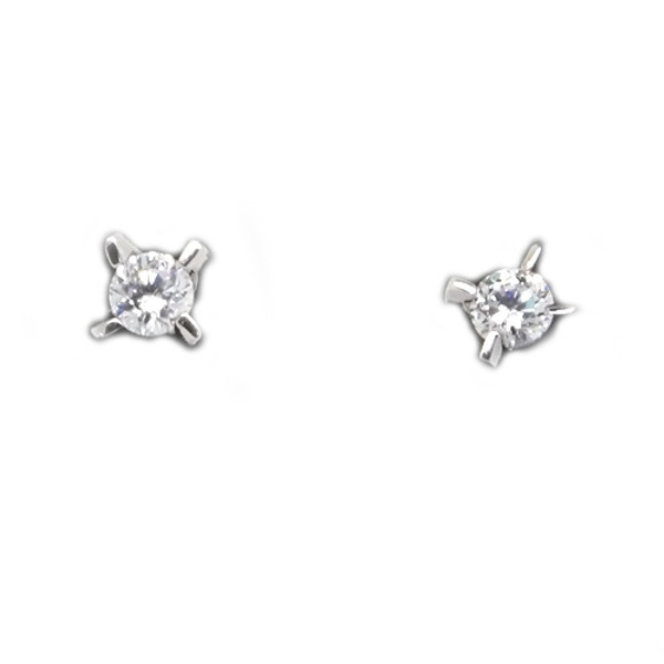 925 Sterling Silver CZ Grasped Stone Stud Earrings