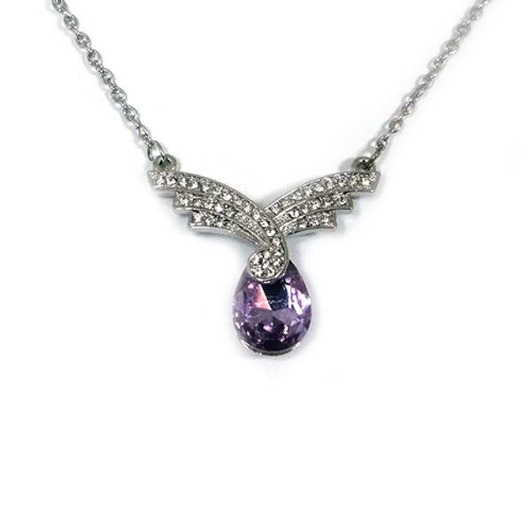 18K White Gold Plated Light Purple Tear Drop Crystal Pendant with CZ Stones Embellishments, Womens Necklace with Free 18 Inch Chain