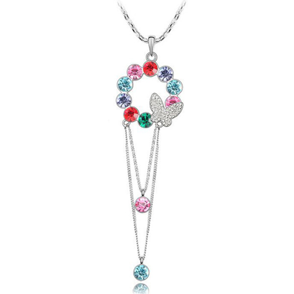 Beautiful Butterfly Round Crystal, Women Sweater Necklace