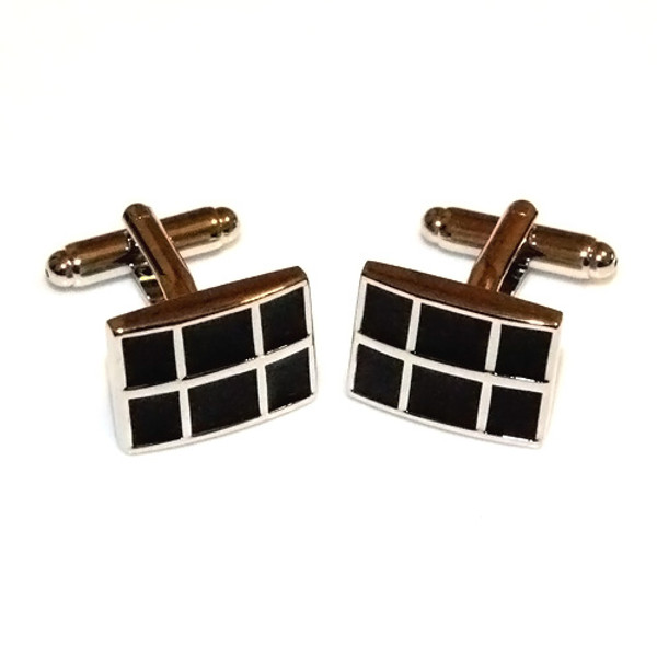 Polished Stainless Steel Black Square Cufflinks