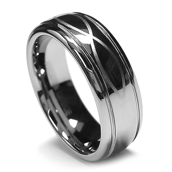8MM Men Tungsten Ring, Dome Infinity Laser Etching  Lucky Design, Chrome Finish