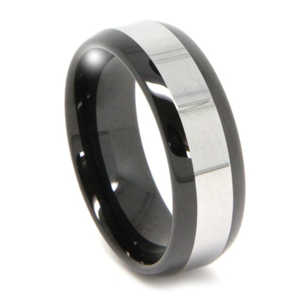 8MM Men Black Tungsten Ring, High Polish with Silver Top, Classy