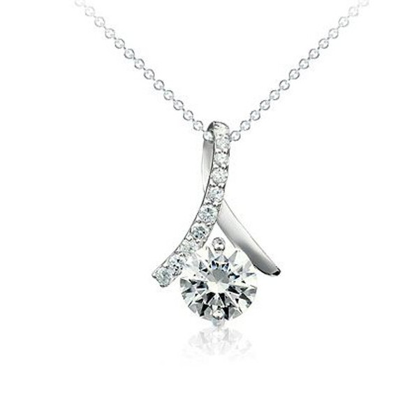 925 Sterling Silver CZ Stone Pendant,  Free  Chain