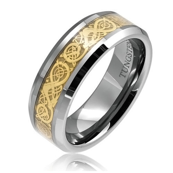 8MM Men Tungsten Ring, Gold Plated Dragon Ring, High Polish, Bevel Edge