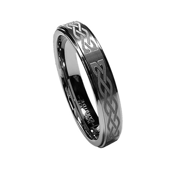 6MM Women Tungsten Wedding Band, Matte Inlay, Classy, Laser Etched Knot, Polished Edge