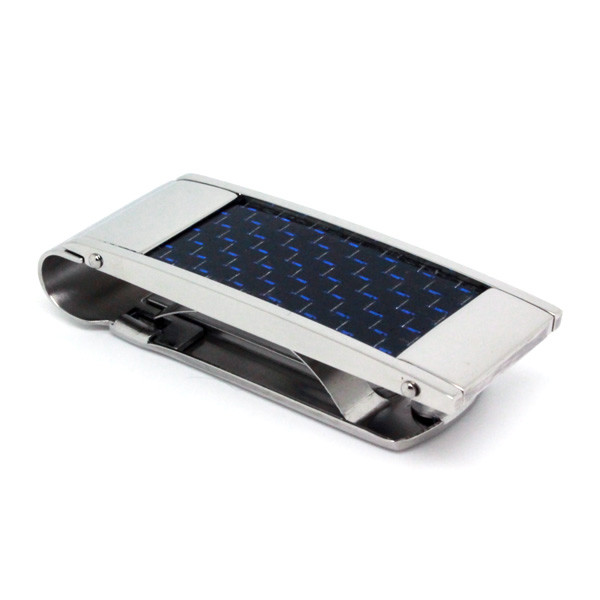 Stainless Steel Money Clip with Blue Carbon Fiber, High Polish, Classy