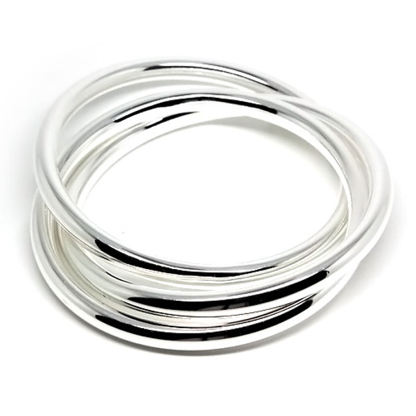 925 Sterling Silver Three Interlocking Bangles