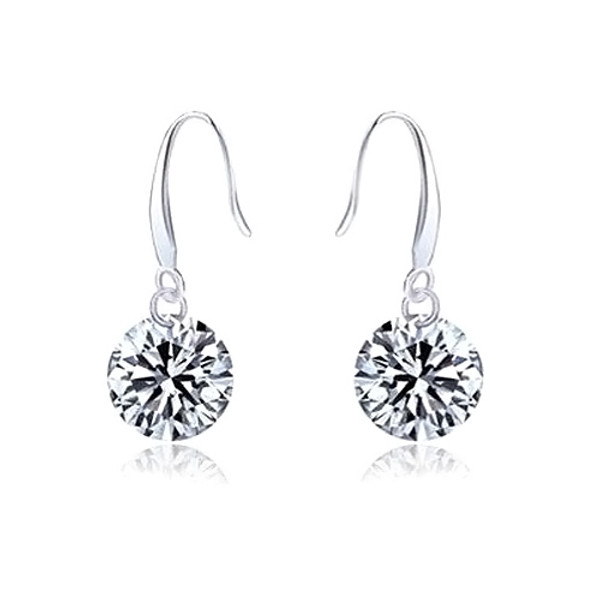 925 Sterling Silver Earrings, Simple Earring with Cubic Zirconia