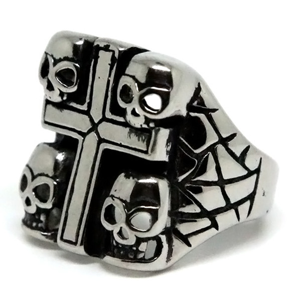 Square Cross and Skulls Stainless Steel Ring