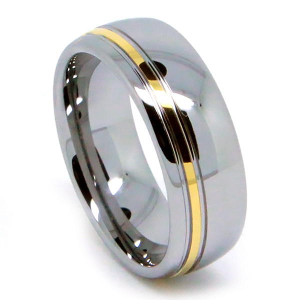 8MM Men Tungsten Ring, Gold Plated Line, Stylish, High Polish Finish, Dome