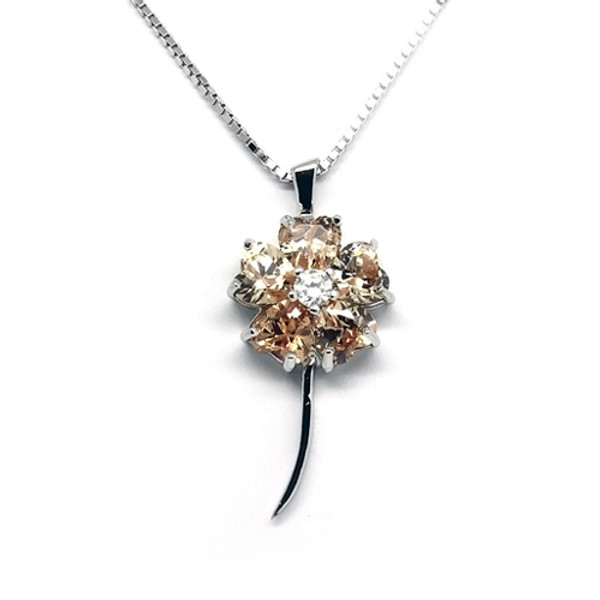 925 Sterling Silver Five Leaf Clover Pendant Necklace,  Cubic Zirconia Free Chain