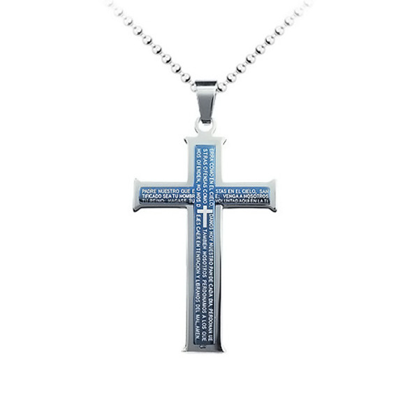 Stainless Steel Blue Cross Pendant Necklace, High End Design, FREE  Chain