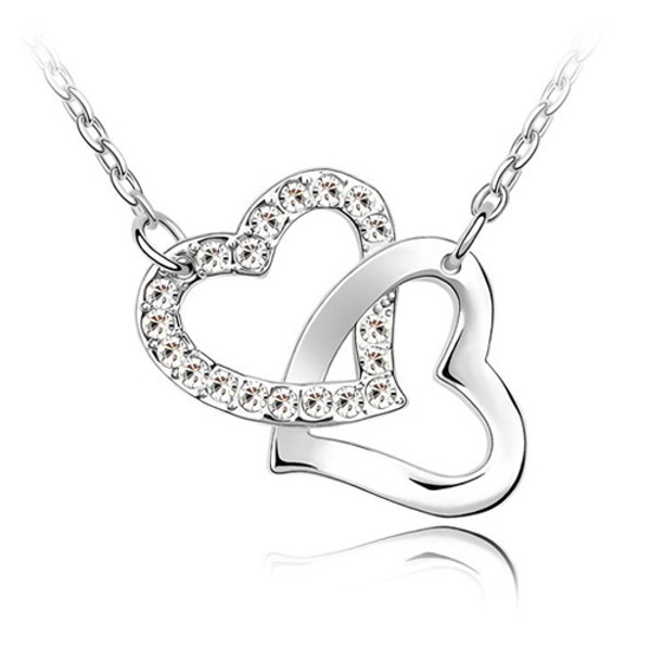 18K Gold Plated Double Heart Pendant Necklace, Cubic Zirconia, Free Chain
