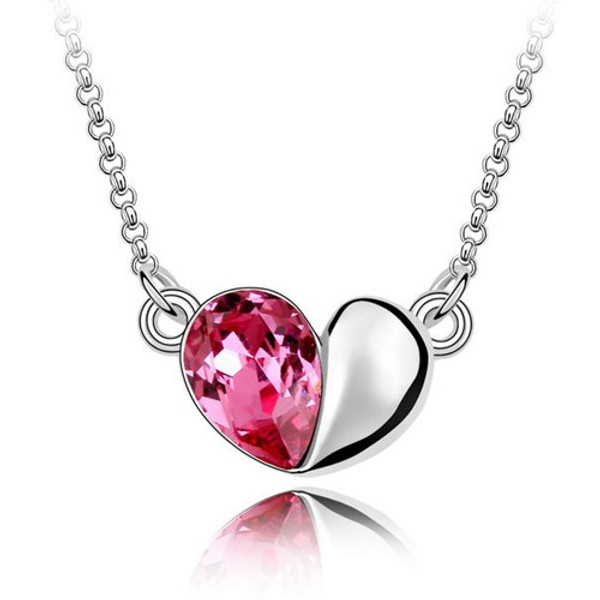 18K Gold Plated Genuine Heart Rose Crystal Pendant Necklace, Free Chain