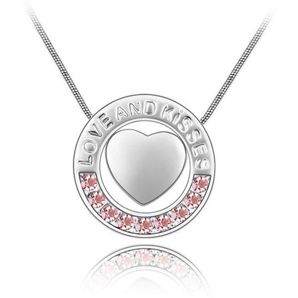"""18K Gold Plated Genuine Heart with """"Love and Kisses"""" Message Pink Necklace"""