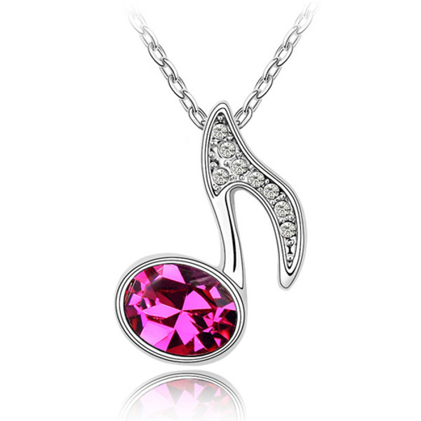 18K Gold Plated Genuine Music Note Fuchsia Crystal Pendant Necklace