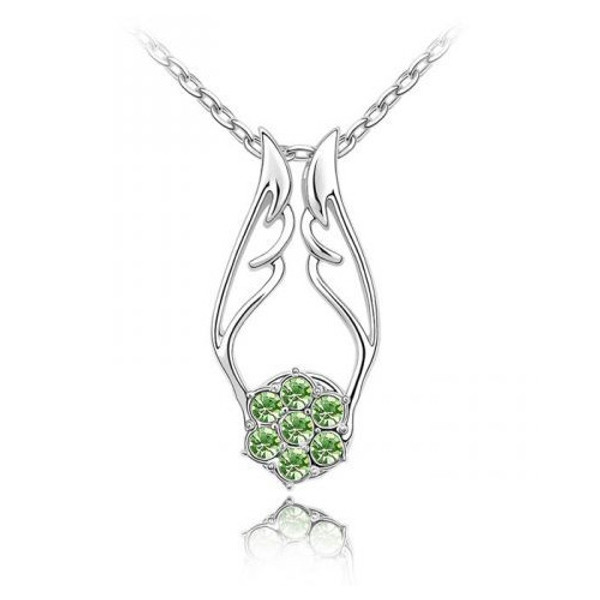 18K Gold Plated Light Green Austrian Crystal Angel Wing Pendant Necklace