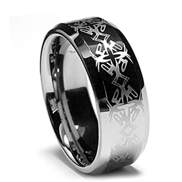 Tungsten Ring, Wedding Band, Flat Top with Engraved Patterns, Chrome Finish, 8MM