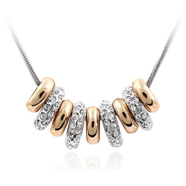 """18K Gold Plated 9 Ring Pendant Necklace, Lucky Necklace, Free 18"""" Chain,"""