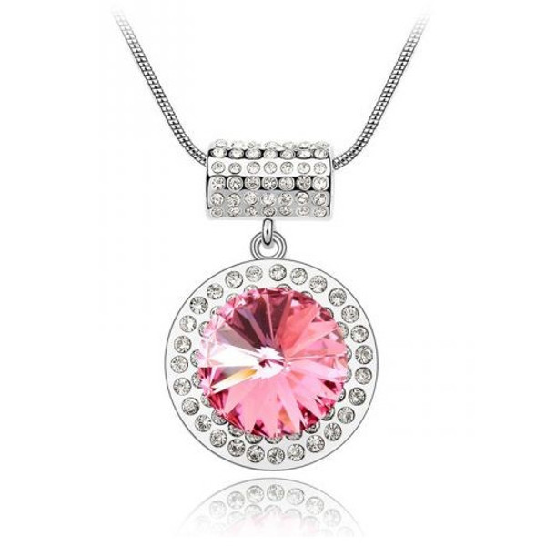 "18K Gold Plated with BIG Pink Crystal Round Pendant Necklace, Free 18"" Chain"
