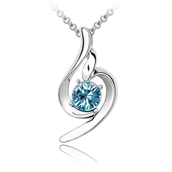Light Blue Genuine Crystal Pendant, Elegant Women Necklace
