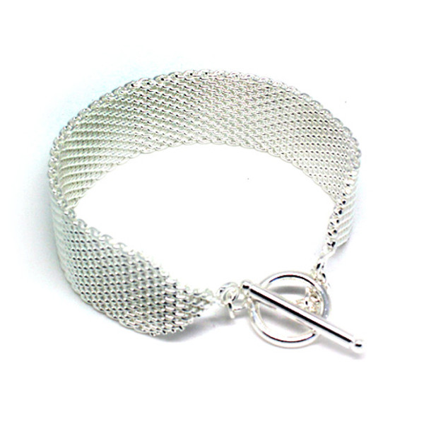 Lovely 925 Sterling Silver Mesh Women Bracelet with Beautiful Toggle Clasp!
