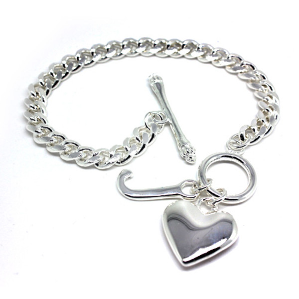 "Lovely 925 Sterling Silver ""J"" and Heart Charm Women Bracelet"