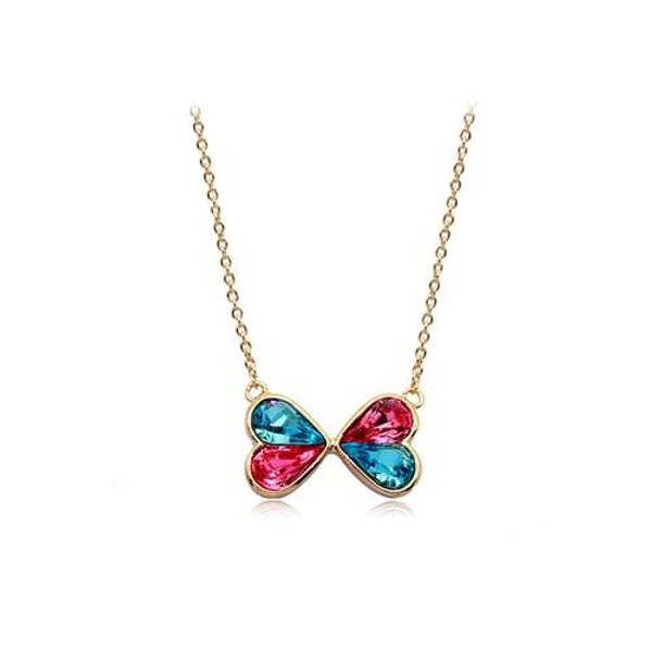 Bow Crystal Pendant Necklace with Colorful Crystals, 18K Gold Plated