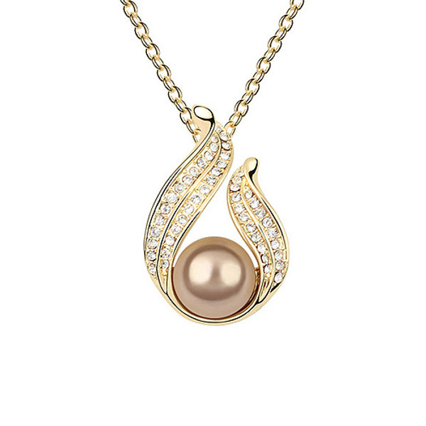 Lovely Crystal Accented Pearl Pendant, Elegant Women Necklace - SUPER NICE