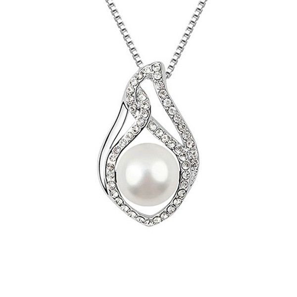 Elegant Large Pearl Pendant Surrounded by Clear Crystal Women Necklace