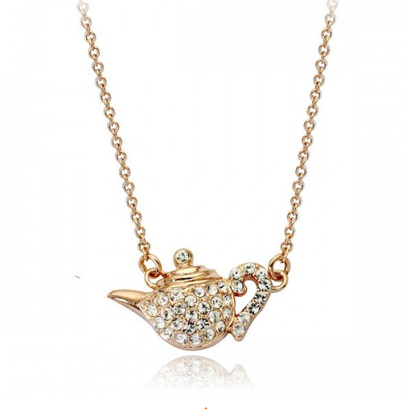 Super Sweet Teapot Pendant Necklace for Women with Crystal Accents