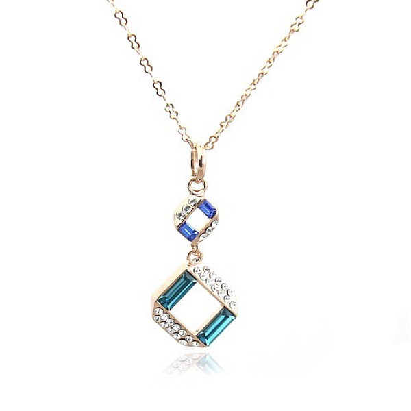 Gorgeous Pendant Necklace for Women with Multi-colored Crystal Accents