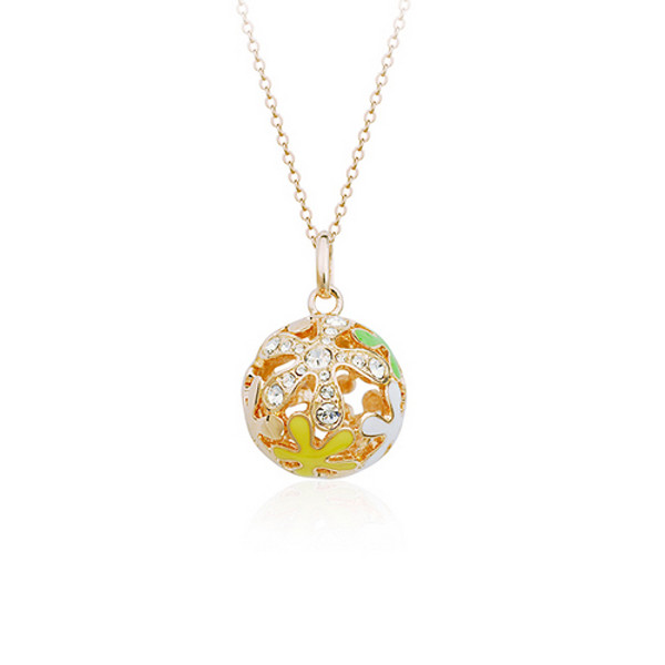 Gorgeous Flower Ball Pendant Necklace for Women with Crystal Accents