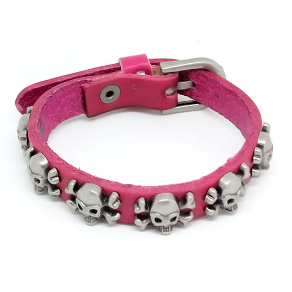 Red Leather Biker Bracelet Vintage Silver Plated Skull Cross Bones