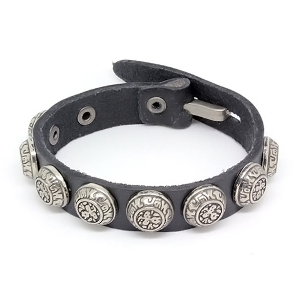 Mens Black Leather Biker Bracelet with Vintage Silver Plated Round Accents