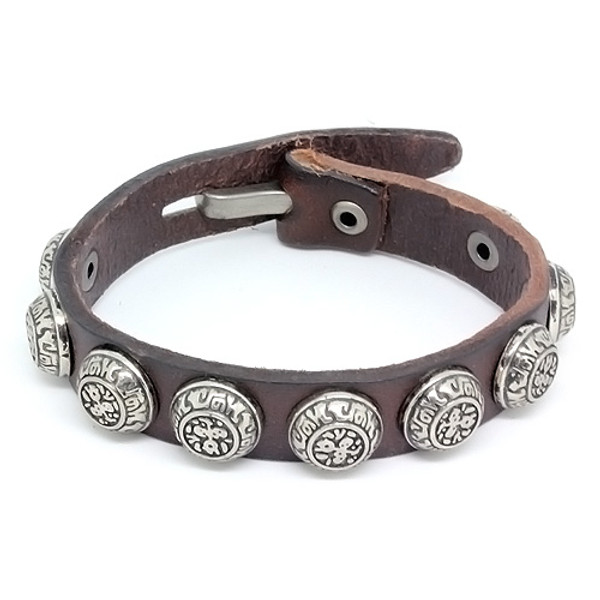 Mens Brown Leather Biker Bracelet with Vintage Silver Plated Round Accents