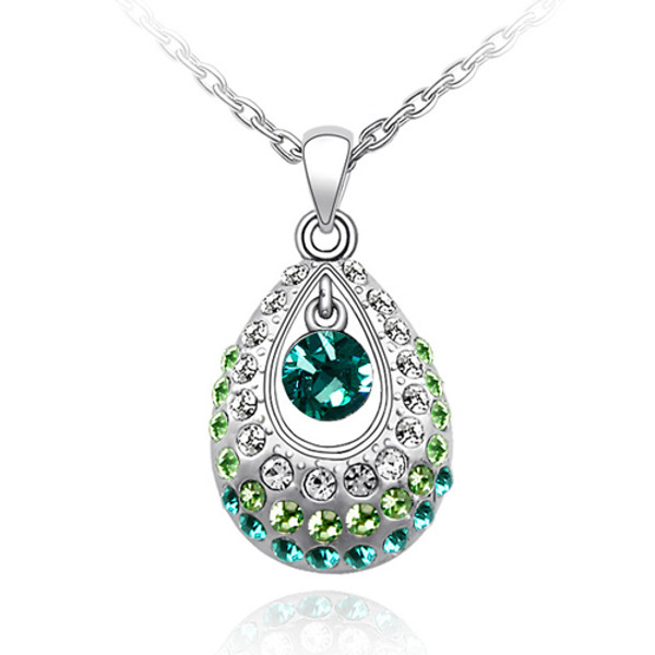 Crystal TearDrop, Green/Blue Stones, Fashion Women Necklace FREE  Chain