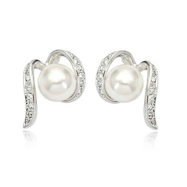 18K White Plated Pearl Earrings with Crystal Accents