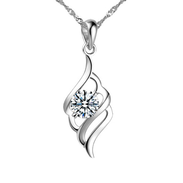 Sterling Silver Necklace, Women Pendant with CZ Stone, Free Chain