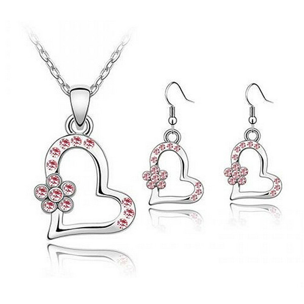 Necklace and Earring Jewelry Set, Light Pink Crystal Heart with Flower