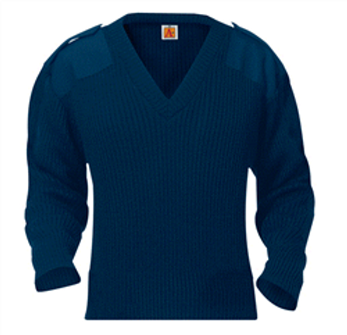 V-Neck Sweater with Epaulets, Nametab, and Badgetab