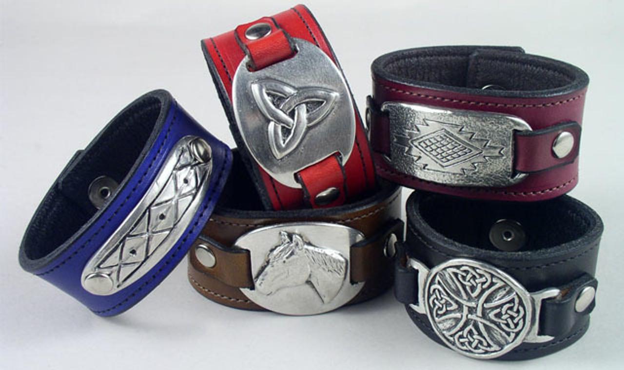 Pewter Leather Bracelet & Wristband