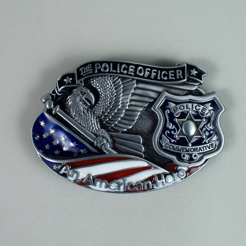 Police Officer American Hero Belt Buckle Fits 1 1/2 Inch Wide Belt.