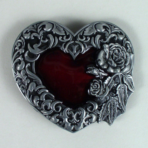 Ruby Heart Belt Buckle Fits 1 1/2 Inch Wide Belt.