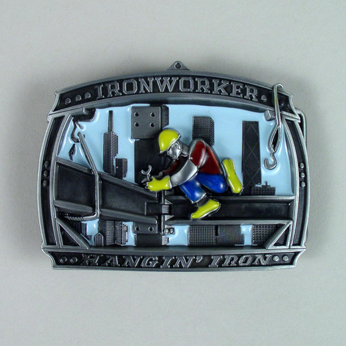Iron Worker Belt Buckle (B) Fits 1 1/2 Inch Wide Belt.