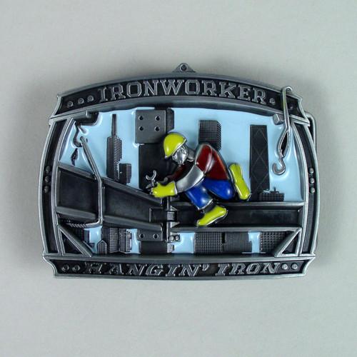 Iron Worker Belt Buckle (B) Fits 1 1/2 Inch Wide Belt.