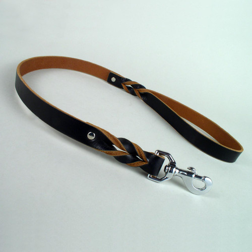 """Braided Leather Dog Leash With Natural Edge Two Foot Length 1"""" wide"""